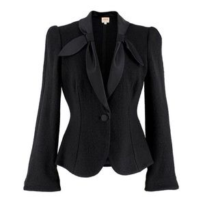 Armani Collezioni Wool-blend Satin Collared Blazer